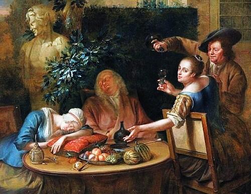 """Veidi ülekäte läinud aiapidu Aert Schoumani maalil """"A Drinking Party in the Garden"""""""