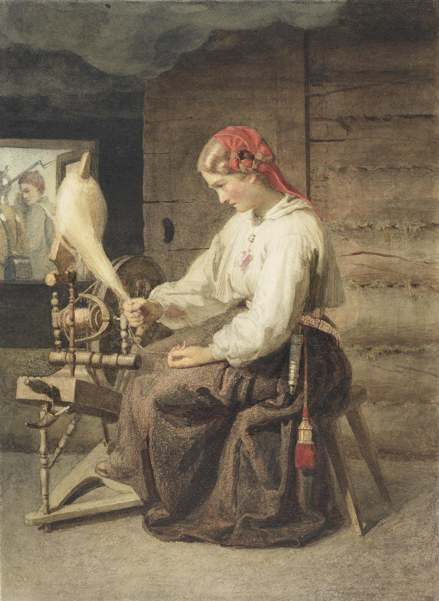 Johann Köler (1826–1899) Ketraja (Katkenud lõng). 1863 Akvarell. Foto: Eesti Kunstimuuseum