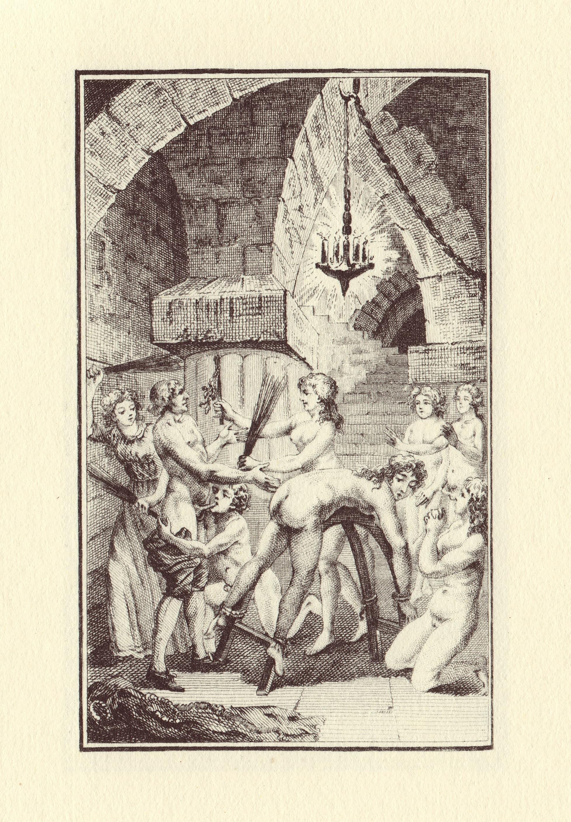 """Gravüür Markii de Sade'i 1797. a raamatust """"Uus Justine"""""""