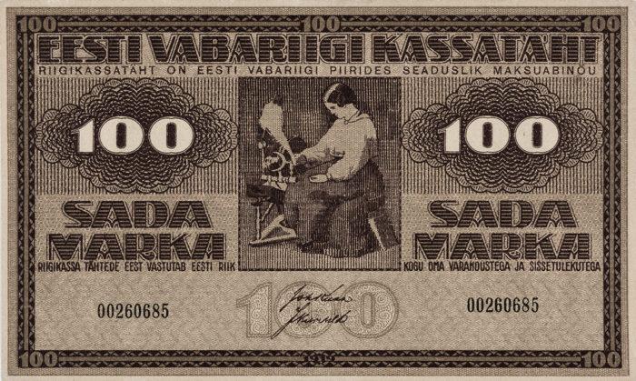 100 marka. Kassatäht. 1919. Kujundaja Theodor Björnström (1890–1959),Tilgmanni trükikoda, Helsingi, Soome. Foto: Eesti Kunstimuuseum