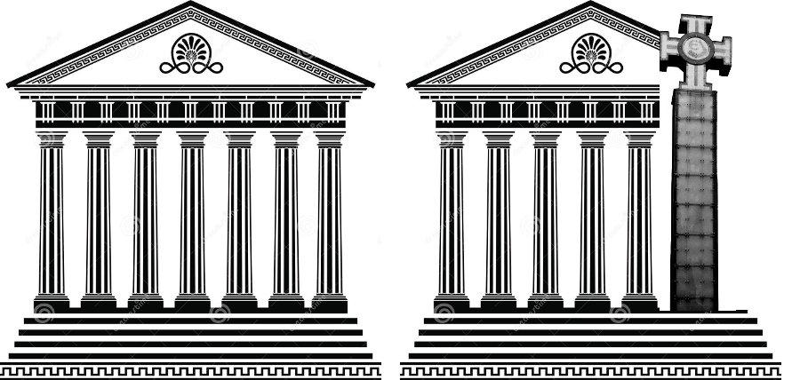 Pilt 4. (A) Dooria sammastega klassikaline Kreeka tempel ja (B) täiendus templi kavandisse.