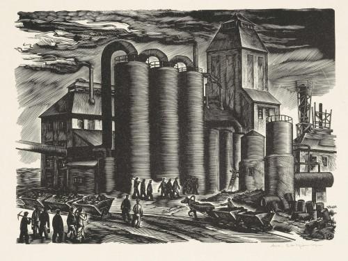 """Arkadio Laigo puugravüür """"Tööleminek kaevandusse"""", leht mapist """"Põlevkivitööstus"""", 1944, Eesti Kunstimuuseumi graafikakogu"""