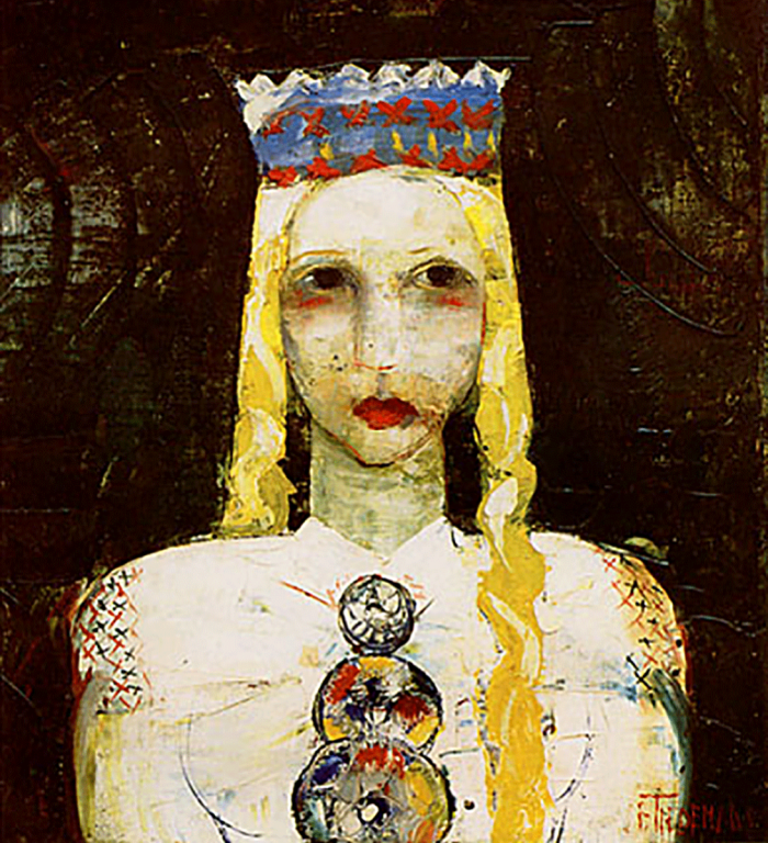 A painting by Jānis Tīdemanis, Girl in a Folk Costume, circa 1930.