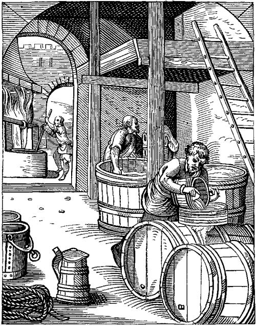 Alkoholitööstuse hammasrattad töötavad niiehknaa täisvõimsusel. Nende mõju oma tarbimisharjumustele saab igaüks aga ise suunata. Illustratsioon: Jost Ammani graveering 16. sajandist.