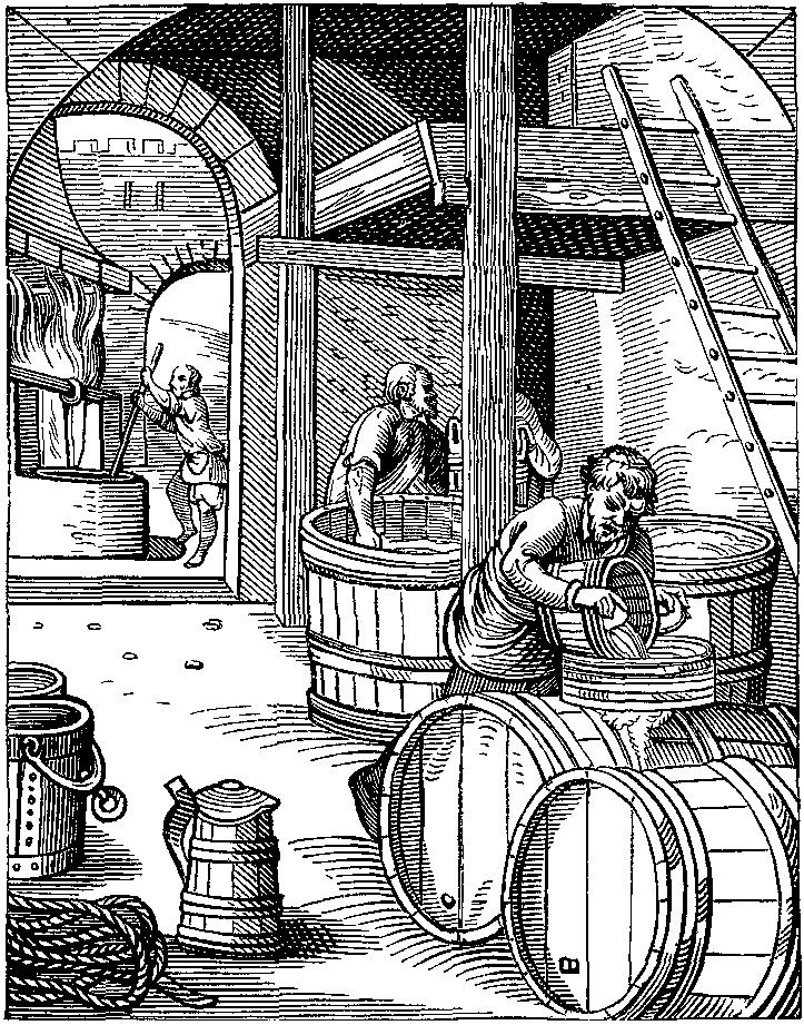 Alkoholitööstuse hammasrattad töötavad niiehknaa täisvõimsusel. Nende mõju tarbimisharjumustele on aga nihutatav. Illustratsioon: Jost Ammani graveering 16. sajandist.