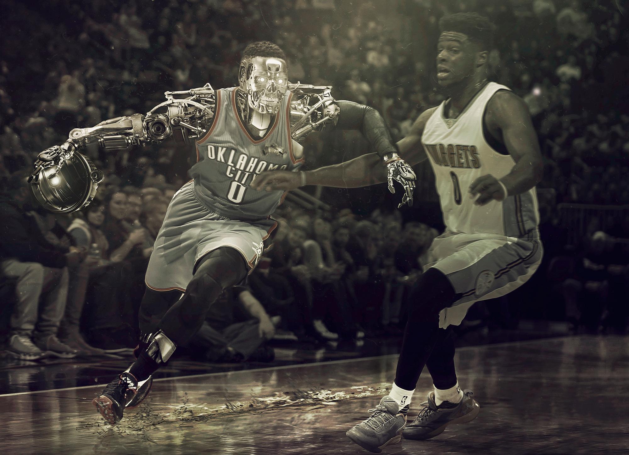 """Russell Westbrooki kujutati tema MVP hooaja vältel levinud internetimeemides kui tulevikust lähetatud androidi filmist """"Terminaator II"""". Foto: fsxartwork (CC BY 4.0)"""