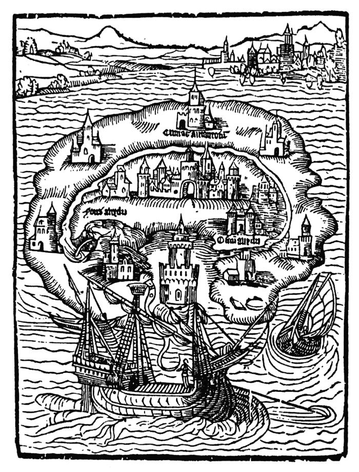Thomas More'i Utoopia oli muust maailmast kanaliga ära lõigatud nagu kujutab ka see, 1516. aastast pärit illustratsioon. Raamatu keskne suurkorporatsioon küll nii eraldatud pole, kuid seegi moodustab sotsiaalselt välismaailmale vastanduva ruumi. Foto: Wikimedia Commons