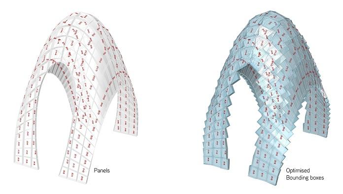 Automatiseeritud vahuvõlv. Üks-ühele robotiseeritud vahuplaadi koorik-konstruktsioon, mis koosneb 204 elemendist, igal neist 5 külge erinevalt painutatud. Varjualuse mõõdud on 2.4 x 1.6 x 2.8 meetrit. Kokku 3200 komponendi geomeetria ja ehitusroboti programmeerimine tehti Grasshopperi ja HAL tarkvaralahenduste abil. Foto ja mudelid: Thibault Schwartz