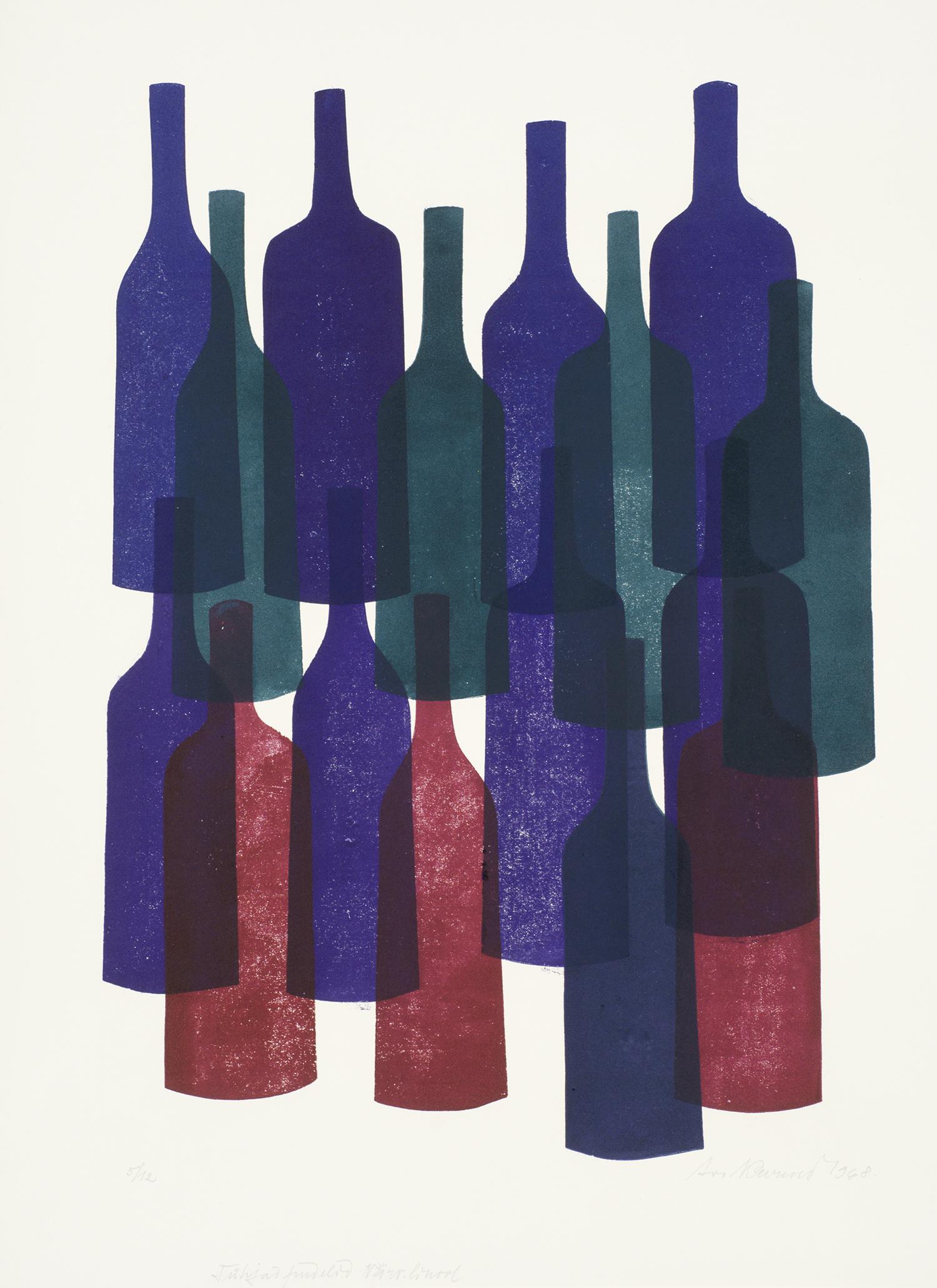 """Avo Keerendi linoollõige """"Tühjad pudelid, 1968, Eesti Kunstimuuseumi graafikakogu"""""""