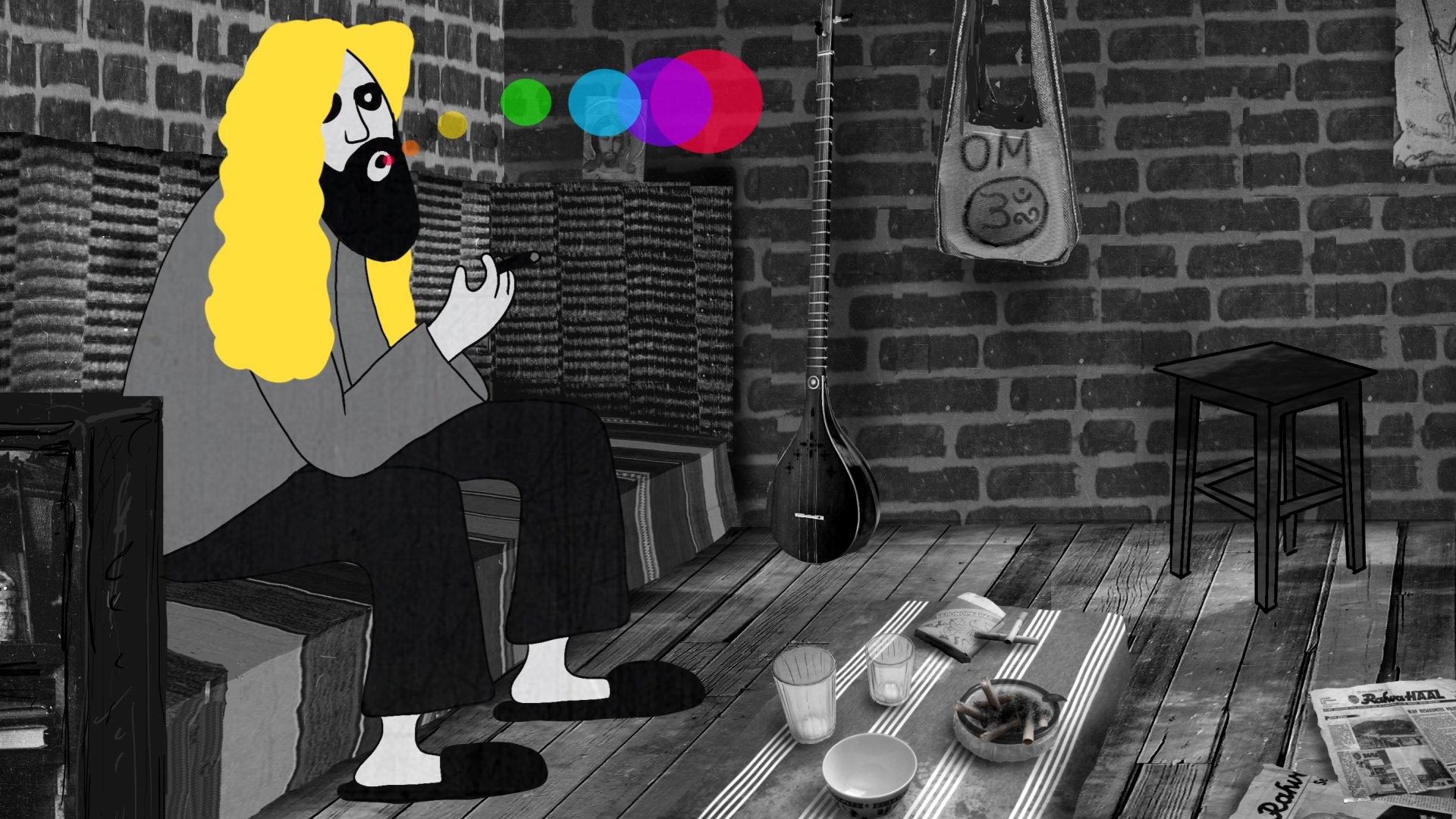 Priit Tenderi animatsioon Aare mälestusest, kuidas ta sõbra Viikingi juures psühhedeelset teed joob. Kaader filmist