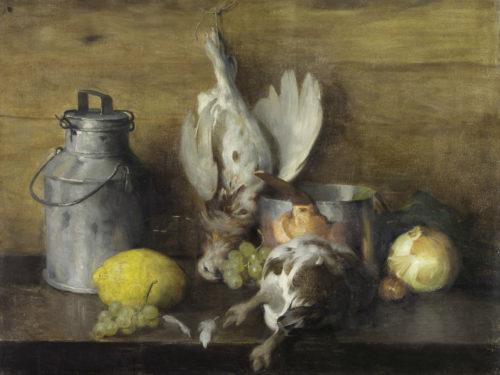 """Alfred Hirv """"Natüürmort lindudega"""", õli, 1900. Eesti Kunstimuuseumi kogu"""
