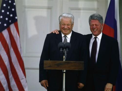 Boriss Jeltsin ja Bill Clinton 1995. aasta oktoobris New Yorgis. Foto: history.com