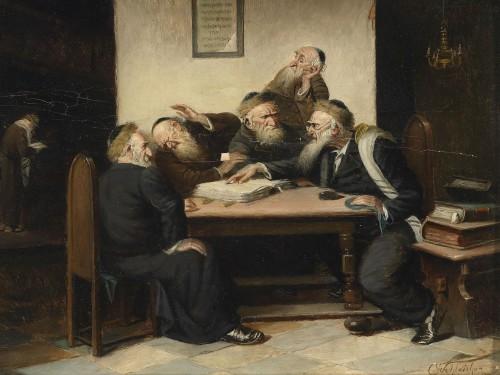"""Carl Schleicher, """"Eine Streitfrage aus dem Talmud"""", 19. saj lõpp, õli lõuendil. Foto: Dorotheum"""