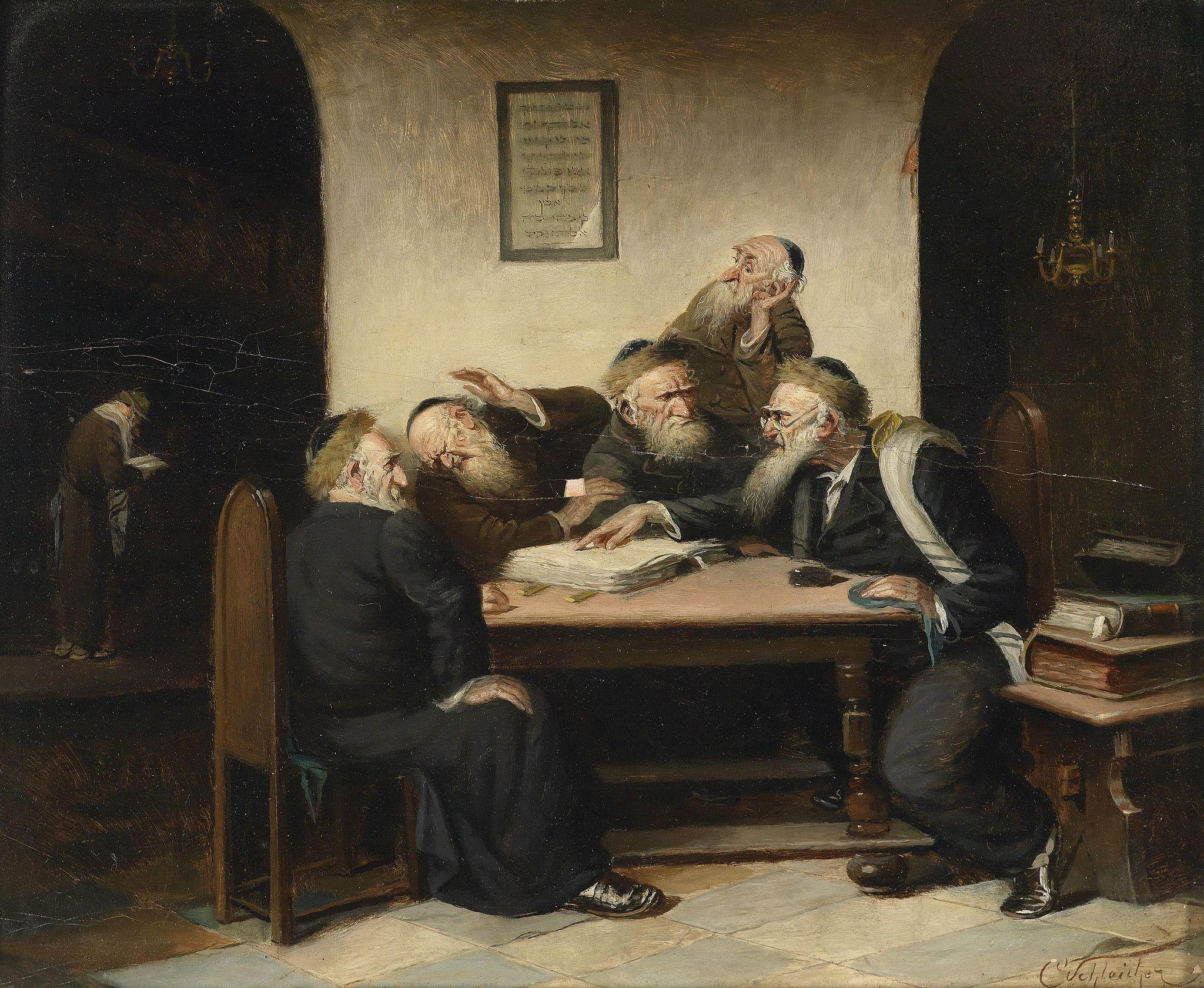 """Carl Schleicher, """"Eine Streitfrage aus dem Talmud"""", 19. saj lõpp, õli lõuendil."""