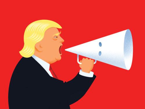 """Jon Berkeley illustratsioon """"Ditching the Dog Whistle"""" ajakirjale The Economist, mis kujutab Trumpi vastuseisu mõista hukka neonatside marsid Charlotteville'is. Foto: Bēhance (CC BY-NC-ND 4.0)"""