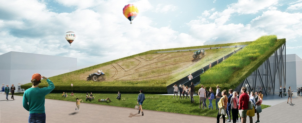 During the Milan World Expo 2015, robotic tractors will create patterns across a field of crops on the roof of the Earthscreening pavilion: a responsive system that is able to react to the conditions of the soil to a degree that was impossible before. By CRA architects Walter Nicolino and Carlo Ratti. Source: Source: Carlo Ratti Associati