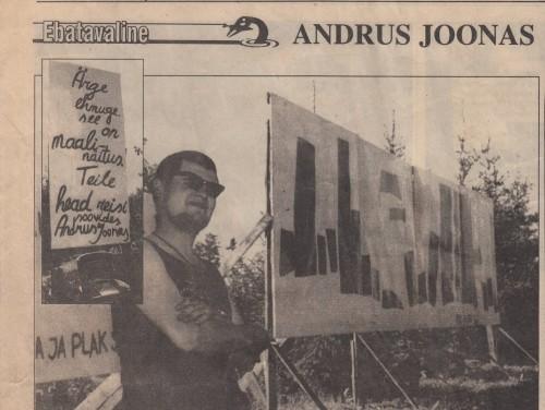 """Andrus Joonase maanteenäituse uudis 10. juuni 1997. a Pärnu Postimehe rubriigis """"Ebatavaline"""""""