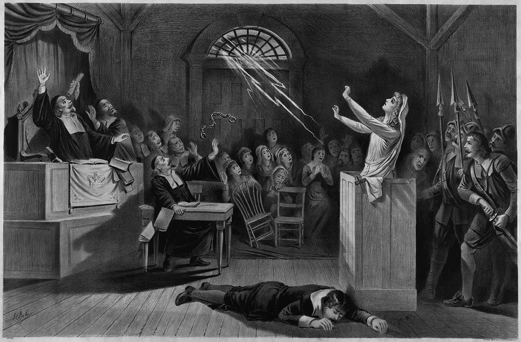 Ebausud, mõjugu nad kui naeruväärselt tahes, räägivad mõndagi meie ajaloolisest taustast ning ühiskonna varjatud võimusuhetest. Joseph E. Bakeri Salemi nõiaprotsessidest inspireeritud lito 1892. aastast. Allikas: Wikimedia Commons