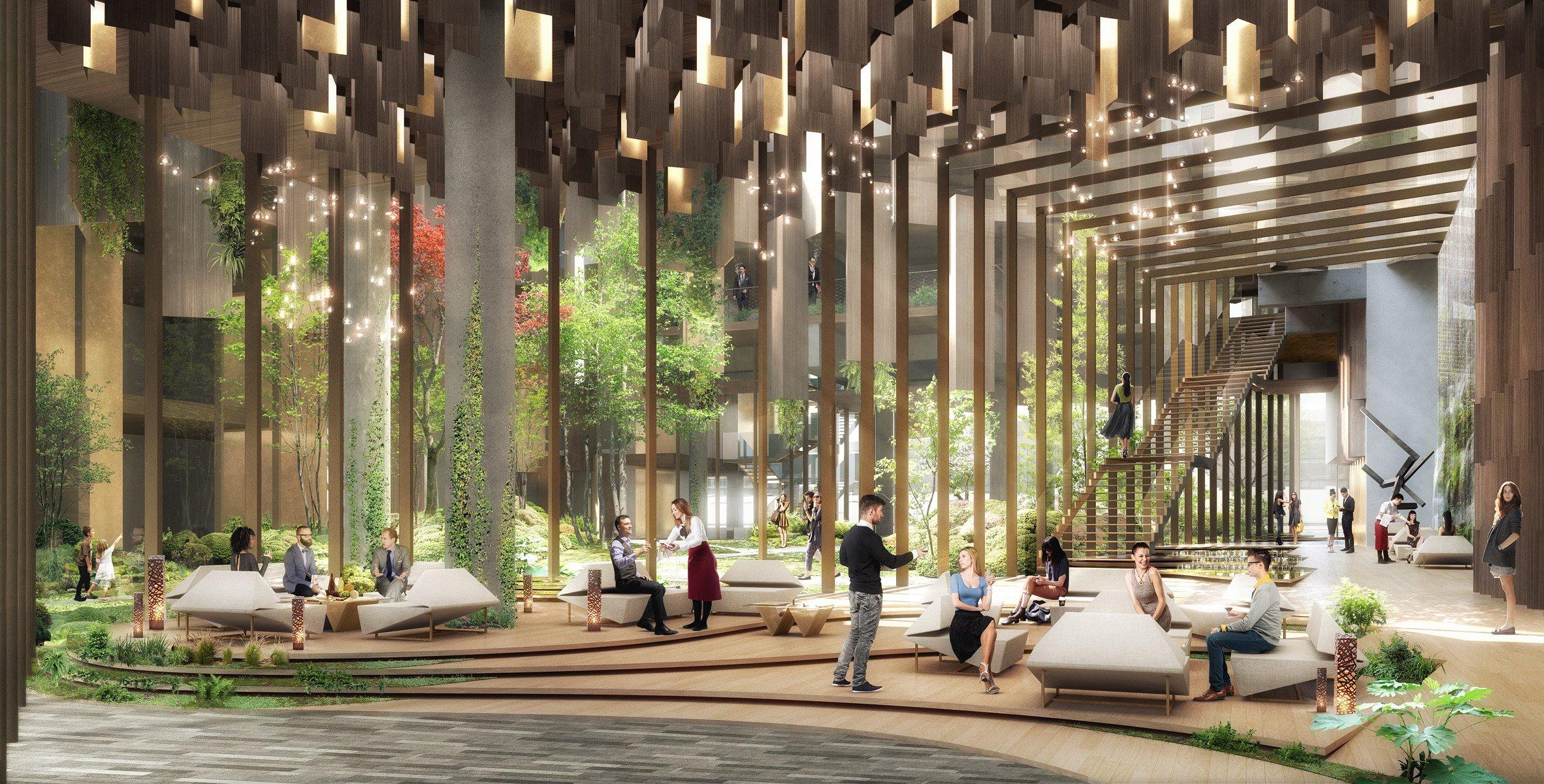 Kengo Kuma Architectsi disainitud arhitektuurivisualisatsioon Eco-Luxury Hotelist Pariisis (Kengo Kuma Architects, Dezeen)