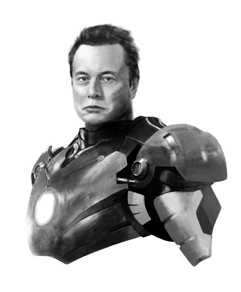 Elon Musk. Illustratsioon Andrei Kedrin