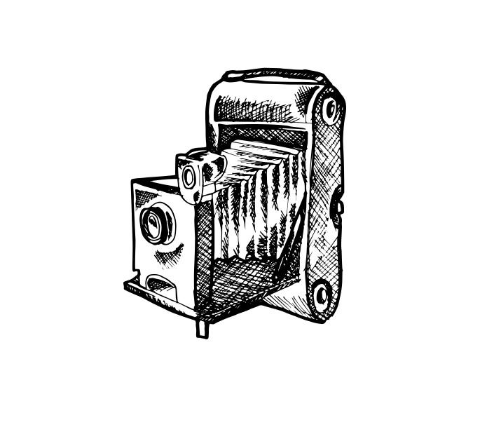Esimene fotokaamera. Ikooni autor: Patricia Canales Odriozola (Noun Project, CC BY 3.0)