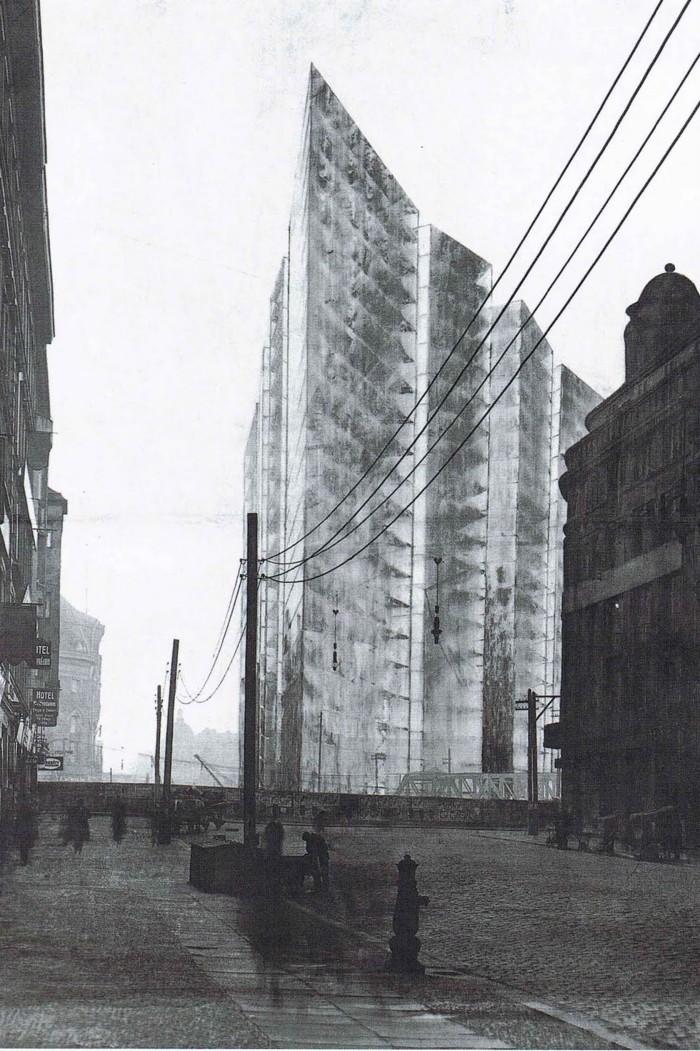 Ludwig Mies van der Rohe kavand Friedrichstrasse pilvelõhkujale Berliinis (1921). Ühest küljest ei olnud selline läbipaistvuse käsitlus disainiprotsessis midagi uut – X-kiirtele omast kujutusviisi kohtab arhitektuuriajaloos ka röntgenieelsetel perioodidel. Asjaolu, et üldsus oli selle esteetika omaks võtnud, kannustas arhitekte aga esmakordselt seda viimistletud lõpplahendustes rakendama. Tähelepanuväärne on, et Mies kasutas oma arhitektuursete ideede selgitamiseks artiklites ka ise röntgenikujutisi.