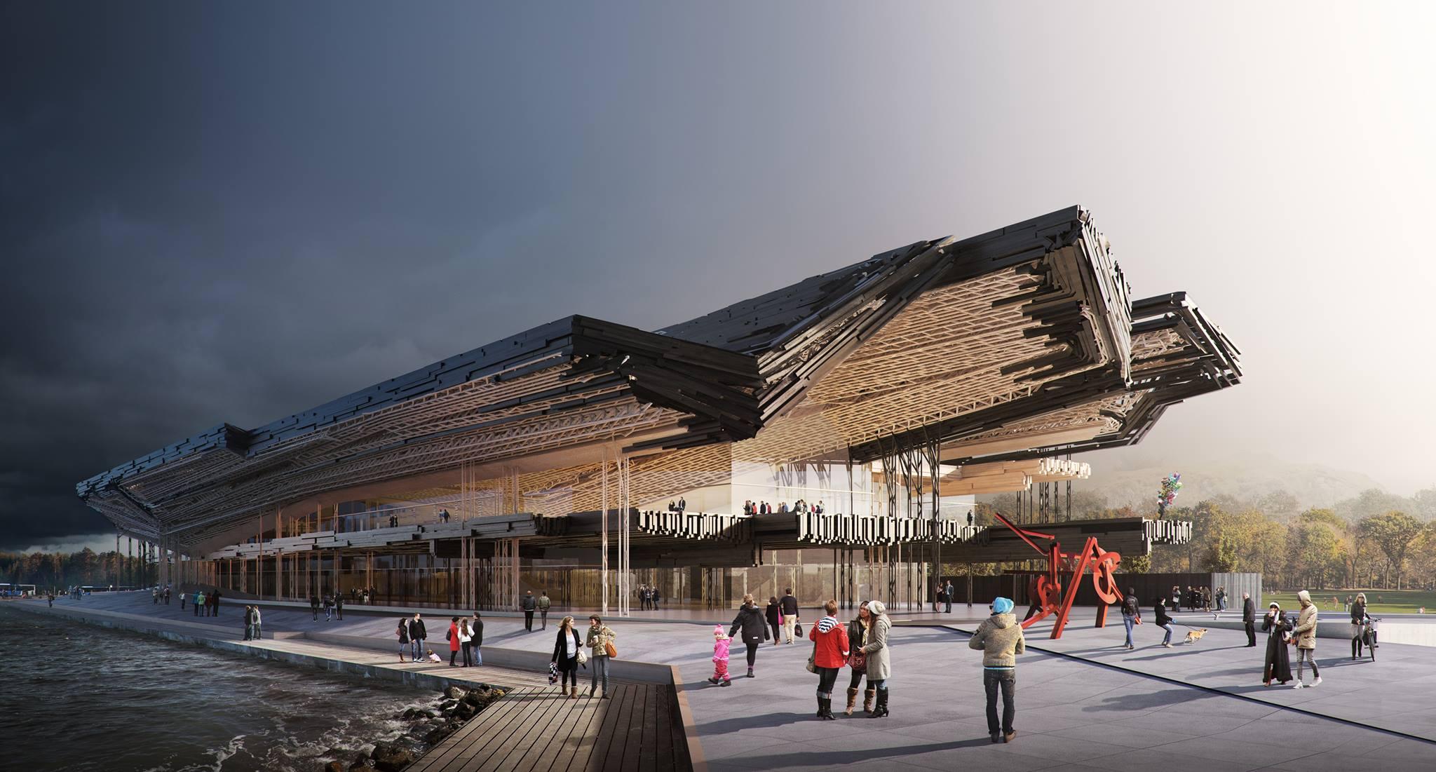 Guggenheim Helsinki võistlustöö. Lagede konstruktsioon koosneb taaskasutatud prussidest. Sellise konstruktsiooni saab välja arvutada ainult lõplike elementide meetodiga ja seda ehitada vaid robotitega. Kavand: Gilles Retsin