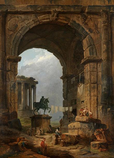 """Hubert Robert, """"Keiser Marcus Aureliuse ajalooline portikus Roomas"""", 1784"""