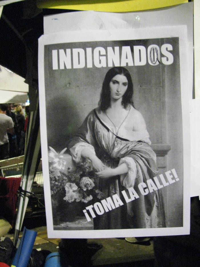 Kodanikuliikumise Indignados poster, mis kutsus hispaanlasi tänavatele tulema. Foto: Flickri kasutaja Yohay Elam (CC BY 2.0)
