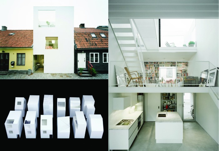 Landskrona town house model variations (below left), exterior view (top left), interior view (right). Elding Oscarson, 2009. Photos: Åke E:son Lindman.