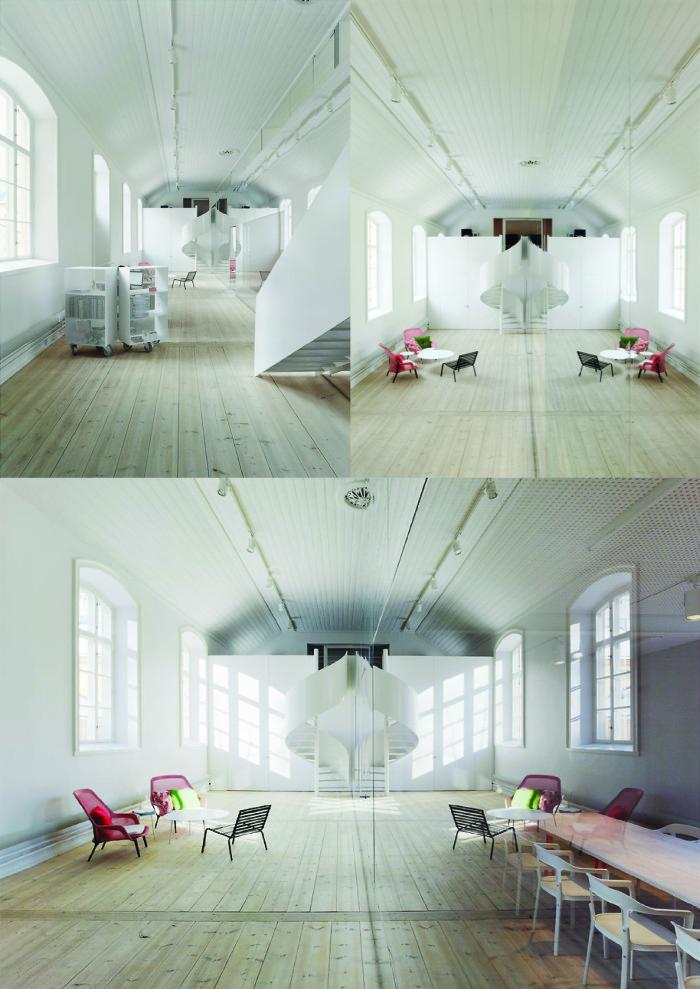 Conversion of a historic building into a design office. Interior views. Elding Oscarson, 2011. Photos: Åke E:son Lindman.
