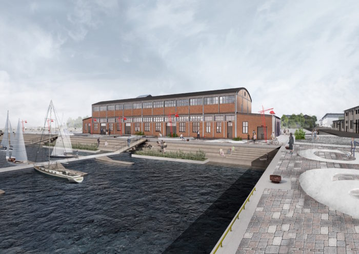 Noblessneri sadamas avatava Kai kunstikeskuse projekt. Välisfassaadi renderdus: KAOS Arhitektid