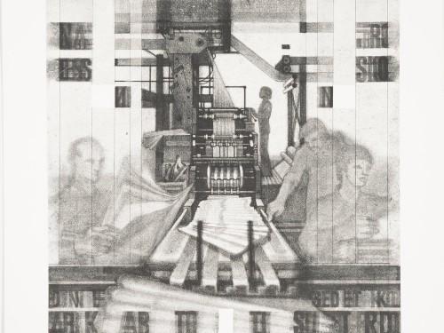 """Kaisa Puustaki graafiline teos """"Uudised"""", pehmelakk, 1977, Eesti Kunstimuuseumi graafikakogu"""