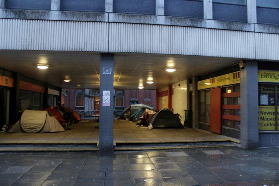Kodutute telkla Manchesteris. Foto: Kaija-Luisa Kurik