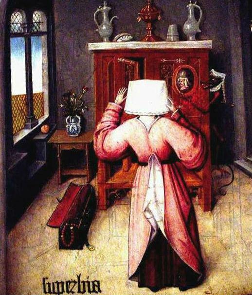 """Kuulsad seitse surmapattu, mille hulka kuulub ka pildil kujutatud uhkus, olid algselt mõeldud askeesi teoloogias vaid selleks, et näidata, millised inimese loomupärased kalduvused võivad rikkuda inimese ja Jumala vahelist suhet. Illustratsioon: Fragment Hieronymus Boschi teosest """"Seitse surmapattu"""" (Wikimedia Commons)"""