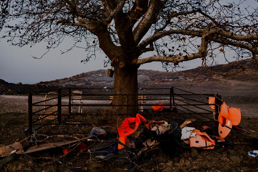 Sügistuul on kandnud vana puu tüvele päästeveste, mida võib kõikjal rannikualadel siin-seal kohata. Paksult oranžide vestide alla mattunud orgu nimetatakse saarel rahvasuus päästevestisurnuaiaks.