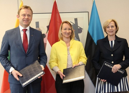 The culture ministers of Lithuania, Latvia and Estonia after signing the memorandum.