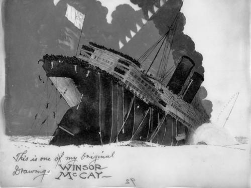 """Joonistused esimesest animadokumentaalist """"Lusitania uppumine"""". Autor: Winsor McCay"""