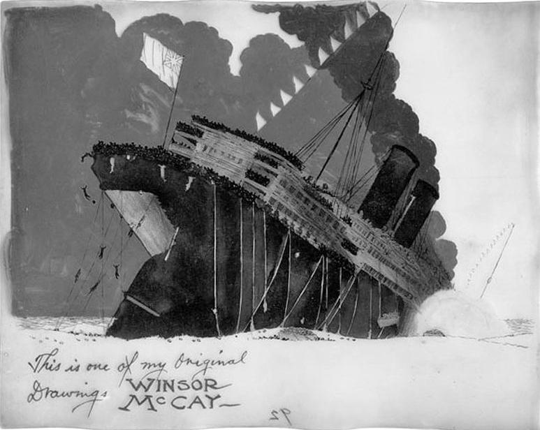 """Joonistus esimesest animadokumentaalist """"Lusitania uppumine"""". Autor: Winsor McCay"""