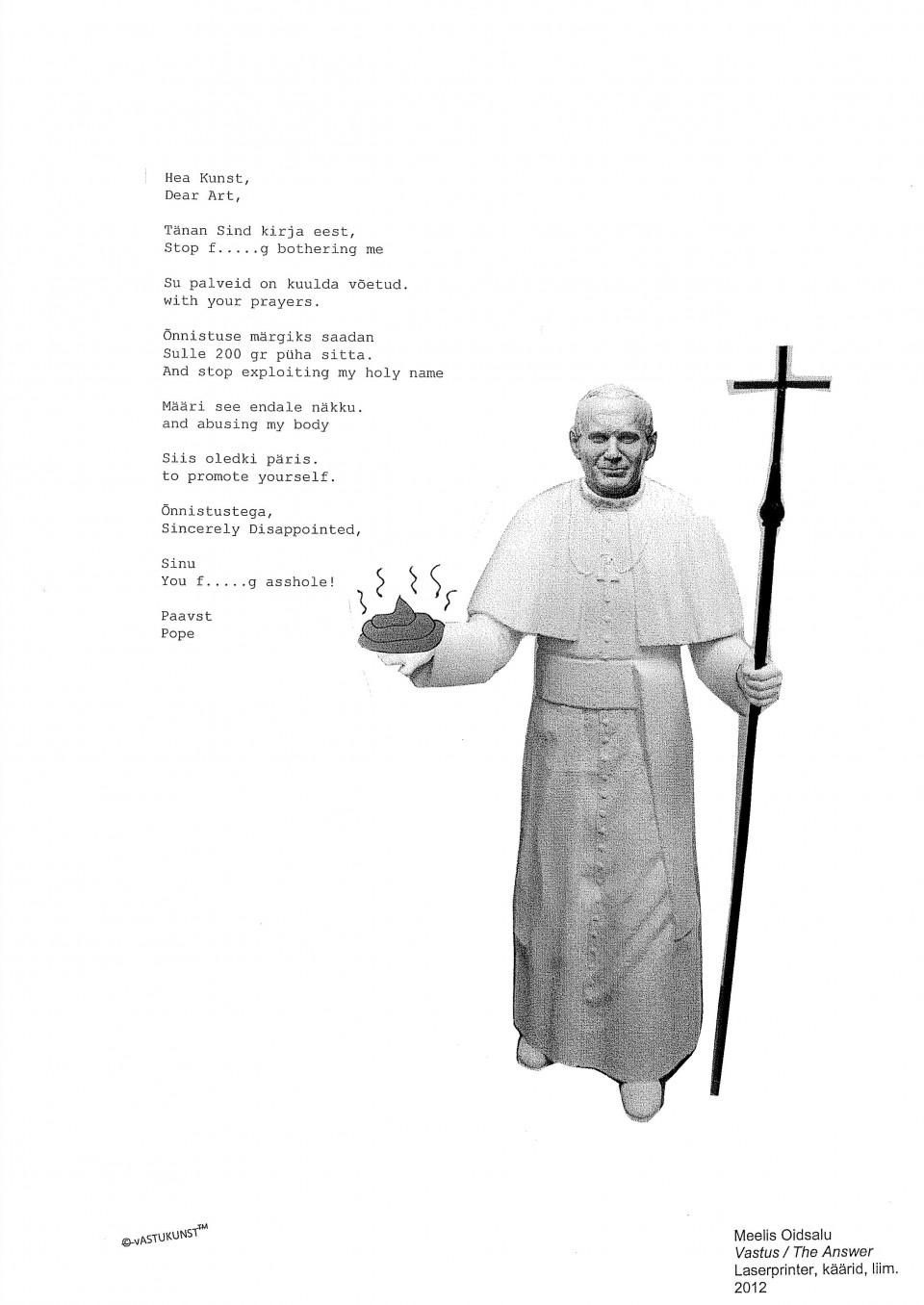 """Meelis Oidsalu kriitika reproduktsioon Art Allmägile – """"Vastus/The Answer"""" Laserprinter, käärid, liim 2012"""