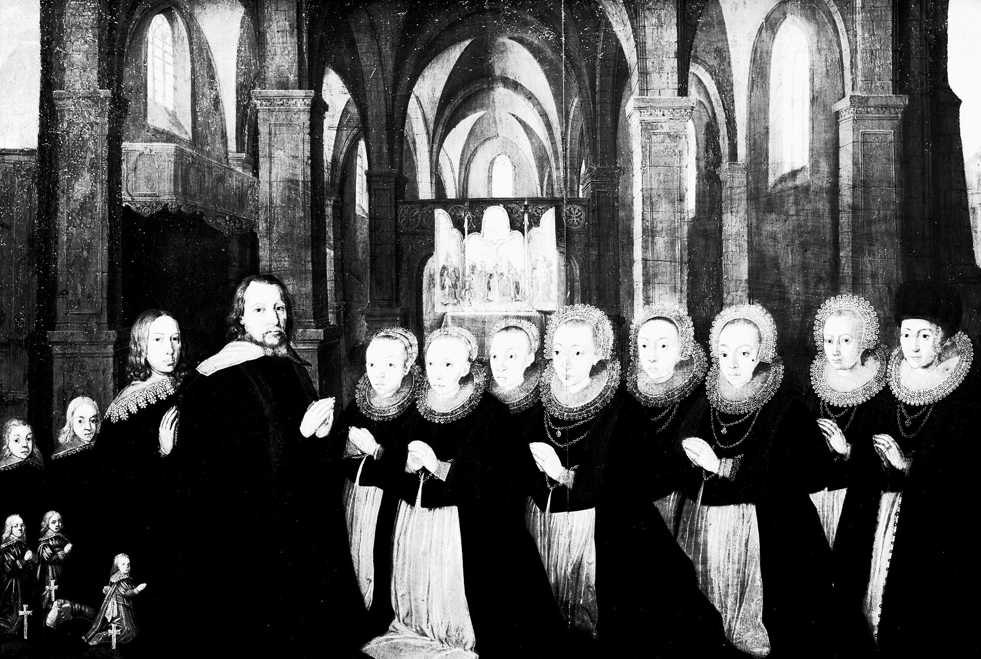 Johann Mülleri 1944. aastal hävinud epitaafist tehtud maal, 1637. Tallinna Niguliste kirik