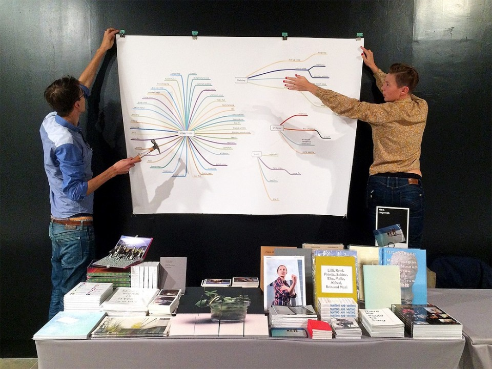 NY Art Book Fair, Paul Kuimet and Laura Toots from an Estonian publisher and bookshop Lugemik, MoMA PS1, 2014. Photo: Lugemik.