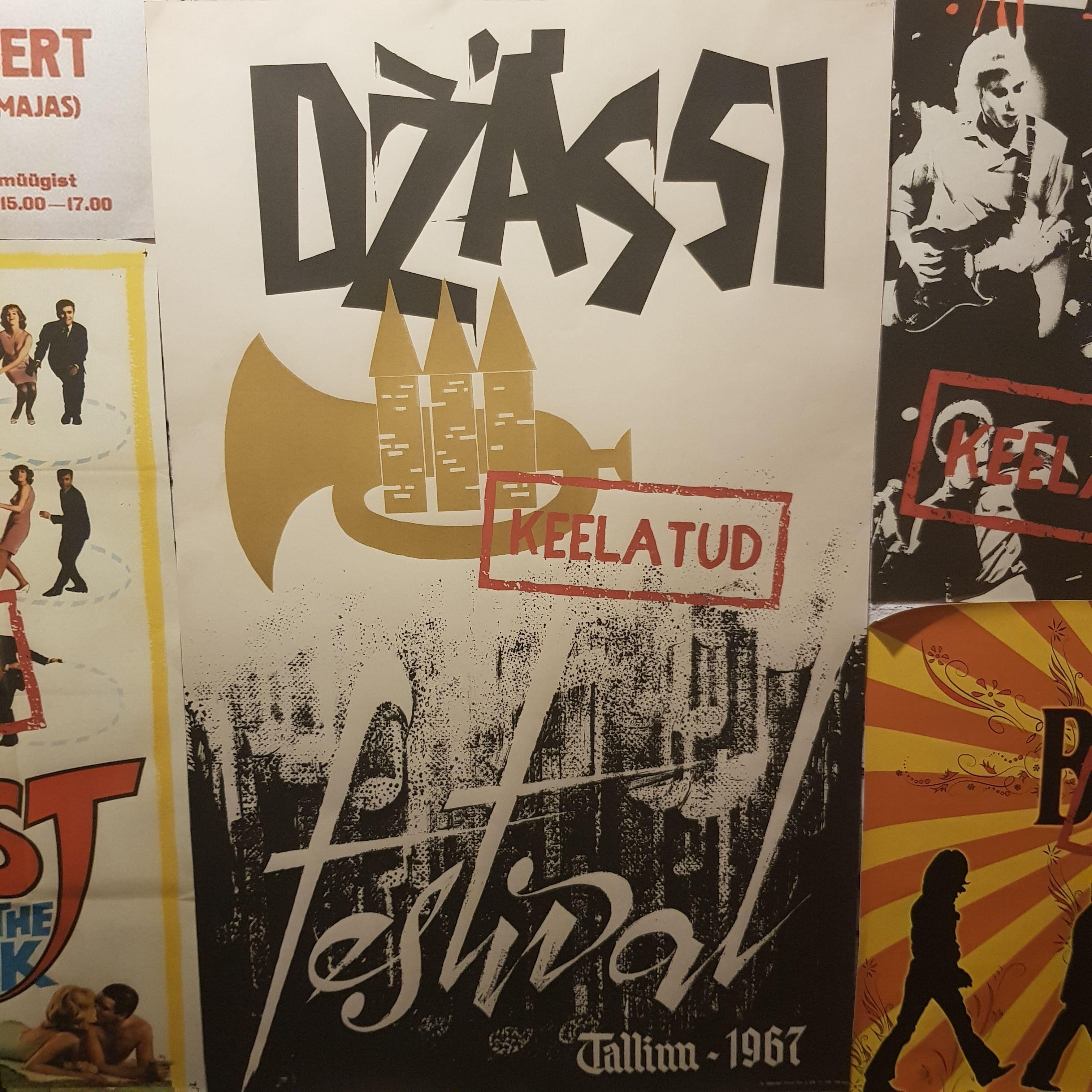 """Tallinna džässifestivali plakat näituselt """"Vabaduse kõla! Eesti levimuusika lugu"""". Foto: Henrik Ehte"""