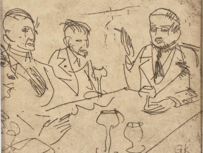 """Georg Kindi kuivnõelatehnikas """"Laudkond"""", 1920, Eesti Kunstimuuseumi välisgraafikakogu"""