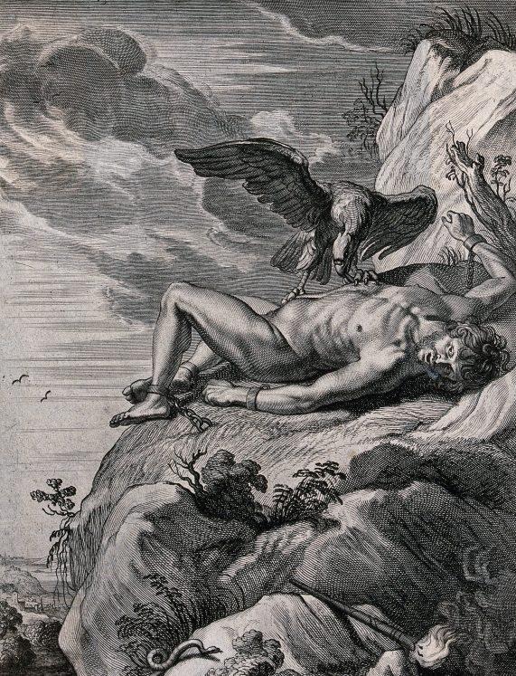 Kalju külge aheldatud Prometheus, kelle maksa käis iga päev nokkimas kotkas. Öösel kasvas maks tagasi. Foto: Wellcome Collection, Attribution 4.0 International (CC BY 4.0)
