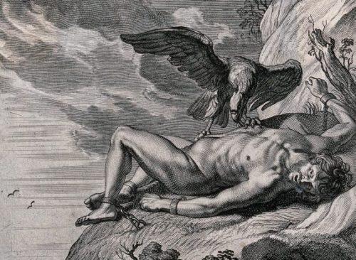 Kalju külge aheldatud Prometheus, kelle maksa käis iga päev nokkimas kotkas. Öösel kasvas maks tagasi. Foto: Wellcome Collection Attribution 4.0 International (CC BY 4.0)
