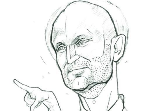 Ott Pärna. Karikatuur: Jaan Škerin