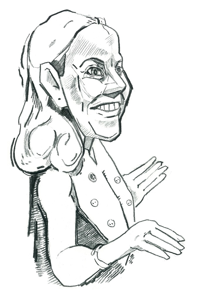 Oudekki Loone. Karikatuur: Jaan Škerin