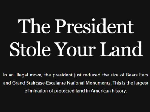 """USA vabaõhurõivaste ja -varustuse tootja Patagonia 2017. aasta meediakampaania """"The President Stole Your Land"""", mis kritiseeris Trumpi otsust vähendada looduskaitsealade territooriumeid. Lisaks annetas firma kogu USA uuest maksukärpest saadud tulu keskkonnaorganisatsioonidele ning kaebas presidendi kohtusse. Rõivabrändi kodulehe kuvatõmmis (04.12.2017)"""