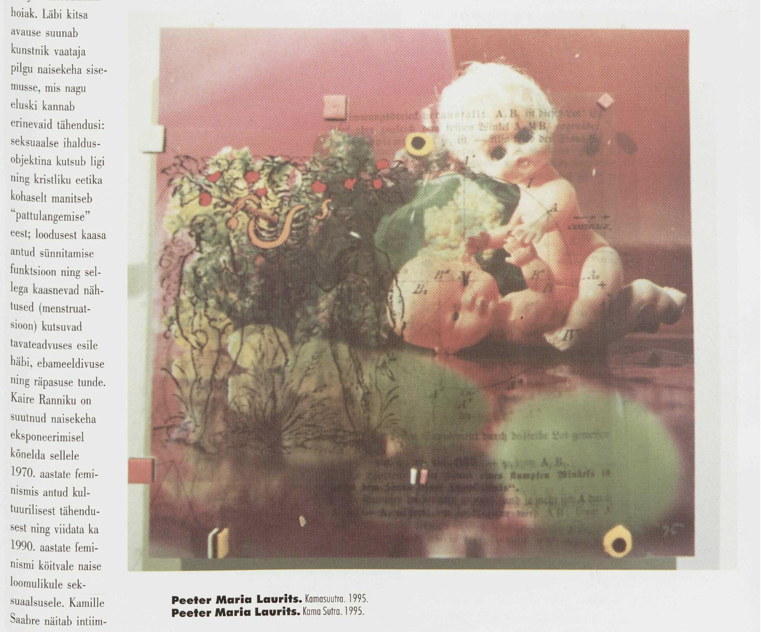 """""""Est.Fem"""" näitusel esinesid ka meeskunstnikud. Fotol Peeter Lauritsa teos ajakirjas Kunst (1996/01)"""